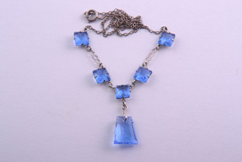 1930's Necklace With Blue Crystals
