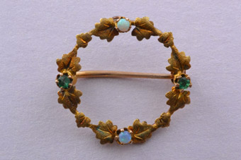 Yellow Gold Victorian Wreath Brooch With Opals And Emeralds