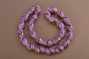Necklace With Pink Glass Beads