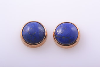 9ct Rose Gold Modern Stud Earrings With Lapis Lazuli