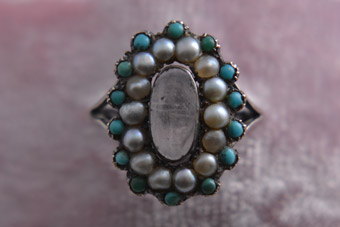Silver Victorian Ring With Turquoise And Pearls