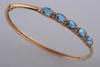 14ct Yellow Gold Modern Bangle With Blue Topaz And Diamonds