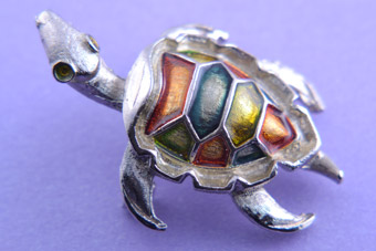 Enamel Turtle Brooch