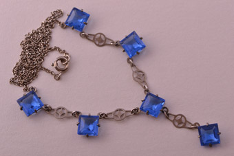 Crystal 1930's Cornflower Blue Czechoslovakian Necklace