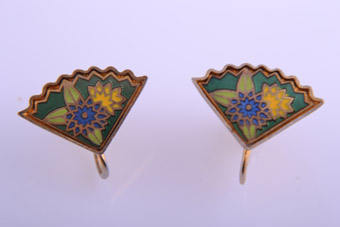 Cloisonné 1950's Fan Screw On Earrings