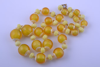 Plastic Vintage Lemon-Coloured Necklace