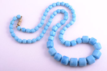 Necklace With Faux Turquoise Glass Beads