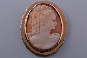 9ct Rose Gold Vintage Brooch With Shell Cameo
