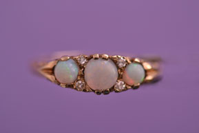 9ct Yellow Gold Victorian Gypsy Ring With Opals And Diamonds