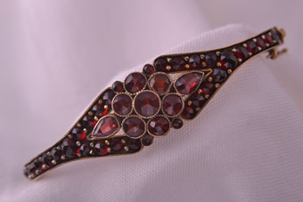 Victorian Hinged Bangle With Garnets