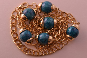 Gilt Vintage Necklace With Beads