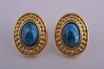 Gilt 1980's Stud Earrings With Blue Stone