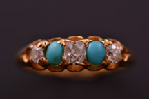 18ct Yellow Gold Victorian Gypsy Ring With Turquoise And Diamonds