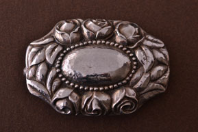 Silver Retro Repousse Floral Rose Brooch
