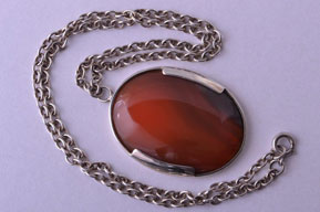Silver Modernist Mid 20th Century Pendant With Cabochon Agate