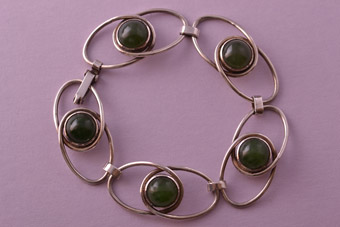 Silver Retro Bracelet With Genuine Semi Precious Stones
