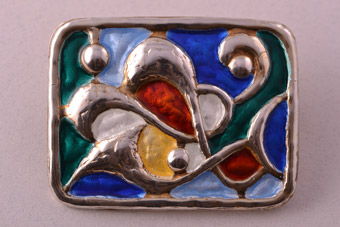 Silver And Enamel Retro Brooch From Norway