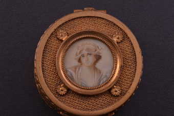 Gilt Victorian Trinket Box With A Painted Miniature