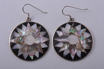 Hook Earrings With Abalone From Mexico