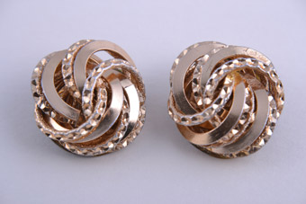 Gilt 1960's Clip On Earrings With Engraving