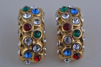 Gilt 1980s Clip on Earrings with Colour Diamantes