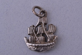 Silver Vintage Galleon Charm