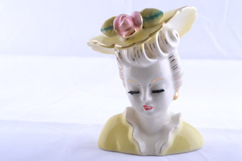 China 1950's Highly Glazed Lady Head Vase