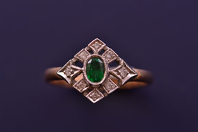 Yellow And White Gold Vintage Ring With Emerald And Diamonds