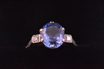 Vintage Solitaire Ring With Synthetic Sapphire And Diamonds