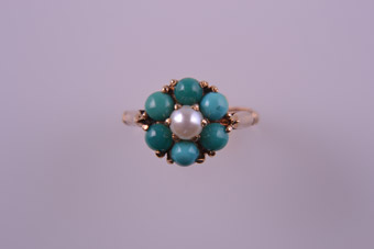 9ct Yellow Gold Vintage Ring With Turquoise And Pearl