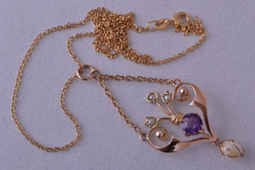 9ct Rose Gold Edwardian Necklace With Amethyst And Pearls