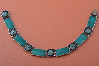 Silver And Enamel Retro Bracelet