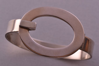 Silver Retro Heavy Solid Hinged Bangle