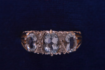 9ct Rose Gold Vintage Ring With Aquamarine And Diamonds