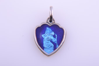 Silver And Enamel Shield Charm With Saint Christopher
