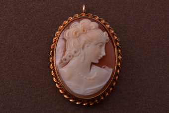 9ct Rose Gold Vintage Brooch / Pendant With A Shell Cameo