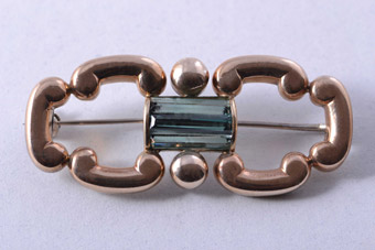 9ct Rose Gold And Silver Vintage Brooch With Tourmaline