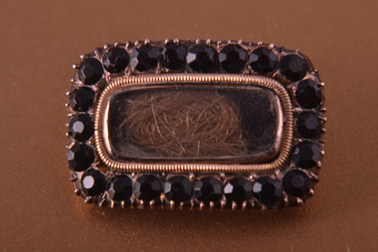 9ct Rose Gold Victorian Mourning Brooch With Jet And Hair