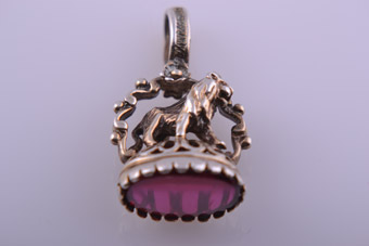 Silver Gilt Standing Seal With A Pink Stone And Lion