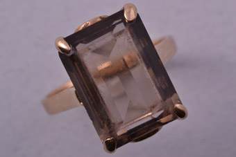 9ct Gold 1950's Retro Ring With Smoky Quartz