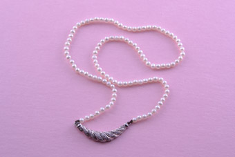 Pearl Necklace With A 14ct White Gold And Diamond Clasp