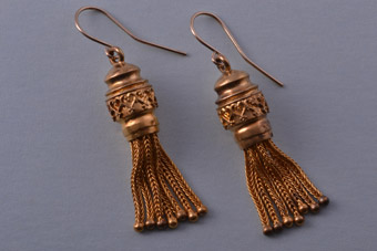 15ct Yellow Gold Victorian Hook Drop Tassel Earrings