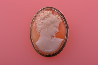 Silver Gilt And Shell Vintage Cameo Brooch