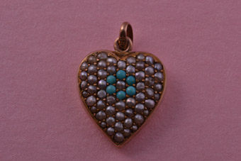9ct Rose Gold Victorian Heart Pendant With Turquoise And Pearls