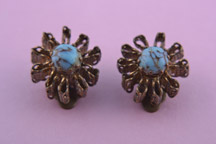 Gilt 1950's Clip On Earrings With Imitation Matrix Turquoise
