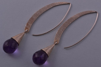 Silver Modern Hook Drop Earrings With Amethyst