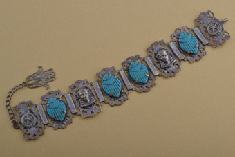 1950's Egyptian Scarab And Hamsa Bracelet