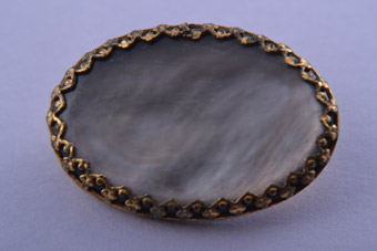 Gilt Brooch With Mother-Of-Pearl