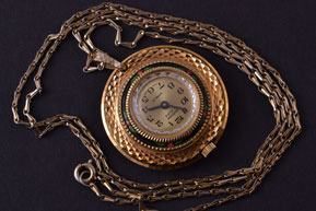Gilt Vintage Lauener Watch Pendant With Enamel
