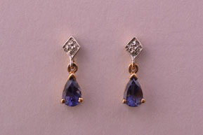 9ct Gold Modern Stud Earrings With Iolite And Diamonds